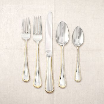 """Mikasa """"Cameo"""" Two-Tone 18/10 Stainless Steel Flatware, , default"""