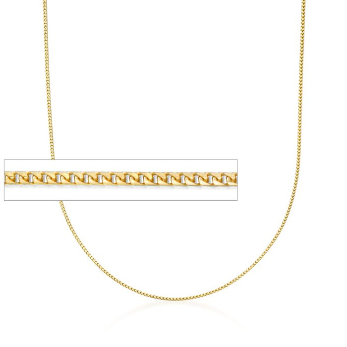 1.2mm 14kt Yellow Gold Franco Link Chain Necklace, , default