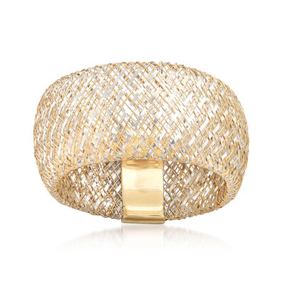 Italian 14kt Two-Tone Gold Woven Mesh Ring, , default