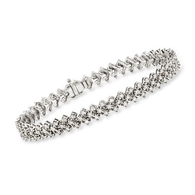 3.00 ct. t.w. Diamond Chevron-Link Bracelet in Sterling Silver