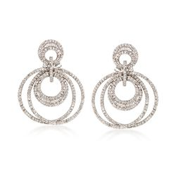 1.25 ct. t.w. Diamond Multi-Circle Drop Earrings in 14kt White Gold , , default