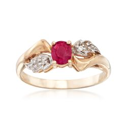 C. 1980 Vintage .35 Carat Ruby Ring With Diamond Accents in 10kt Yellow Gold. Size 6.75, , default