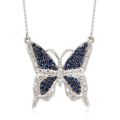 1.10 ct. t.w. Sapphire and .10 ct. t.w. White Zircon Butterfly Necklace in Sterling Silver, , default