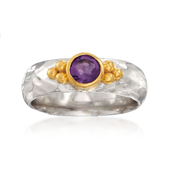 .40 Carat Amethyst Ring in Two-Tone Sterling Silver, , default