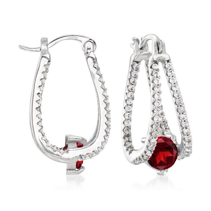 2.00 ct. t.w. Garnet and .80 ct. t.w. White Topaz Double-Hoop Earrings in Sterling Silver