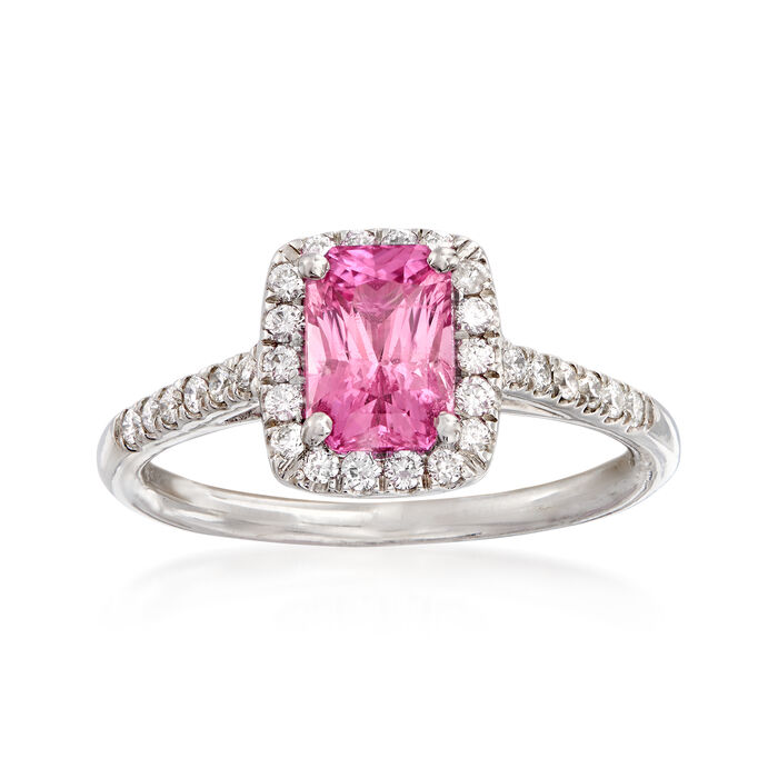 C. 2000 Vintage 1.45 Carat Pink Sapphire and .25 ct. t.w. Diamond Ring in 14kt White Gold. Size 6.5