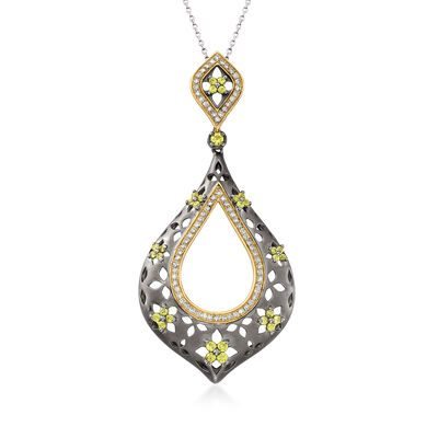 C. 1990 Vintage .65 ct. t.w. Diamond and .50 ct. t.w. Peridot Floral Teardrop Pendant Necklace in 14kt Two-Tone Gold