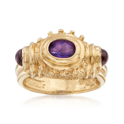 C. 1990 Vintage .50 Carat Oval Amethyst and .40 ct. t.w. Garnet Ring in 14kt Yellow Gold, , default