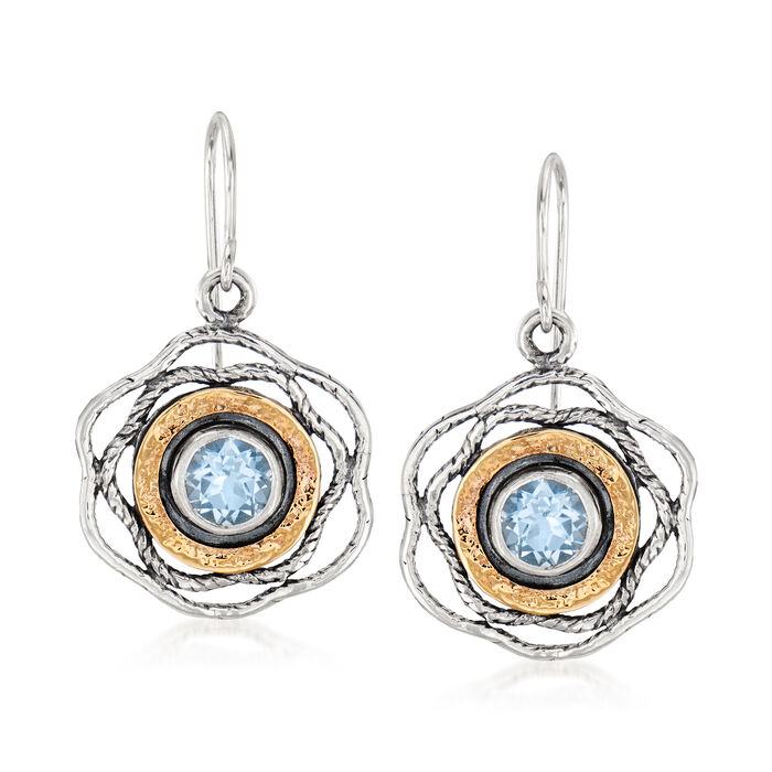 2.00 ct. t.w. Sky Blue Topaz Drop Earrings in Sterling Silver and 14kt Yellow Gold