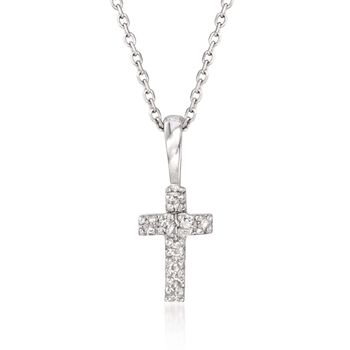 "Diamond Accent Small Cross Pendant Necklace in 14kt White Gold. 16"", , default"