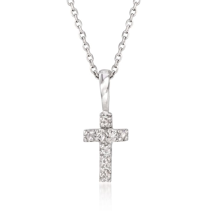 """Diamond Accent Small Cross Pendant Necklace in 14kt White Gold. 16"""", , default"""