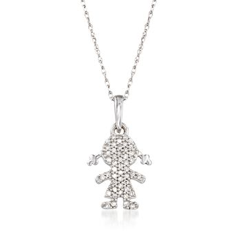 """Diamond-Accented Girl Silhouette Pendant Necklace in 14kt White Gold. 18"""", , default"""