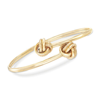 Love Knot Bypass Bangle Bracelet in 14kt Yellow Gold, , default