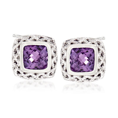"Andrea Candela ""Rioja"" 2.58 ct. t.w. Amethyst Stud Earrings in Sterling Silver"