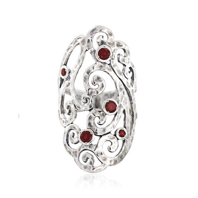 Sterling Silver Openwork Ring with Garnet Accents, , default