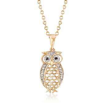 Owl Pendant Necklace with Diamond Accents in 14kt Yellow Gold, , default