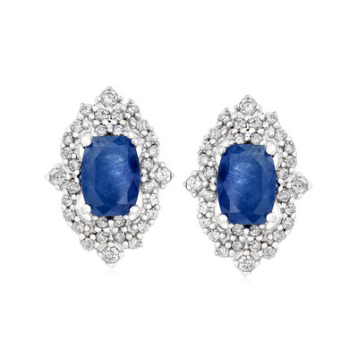 2.30 ct. t.w. Sapphire and .39 ct. t.w. Diamond Earrings in 14kt White Gold