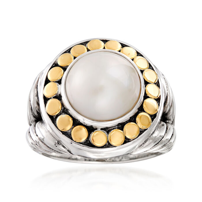 11-12mm Cultured Mabe Pearl Ring in 18kt Yellow Gold and Sterling Silver, , default