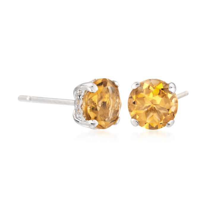 1.40 ct. t.w. Citrine Stud Earrings in 14kt White Gold