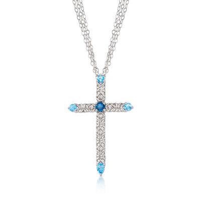 2.10 ct. t.w. Tonal Blue Topaz Cross Pendant Necklace with Diamond Accents in Sterling Silver, , default