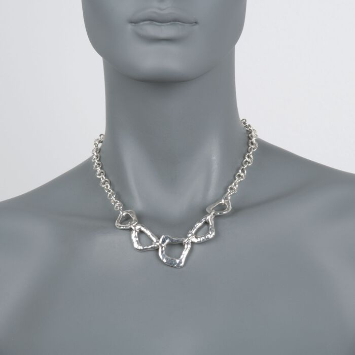 "Zina Sterling Silver ""Touchstone"" Reversible Geometric Link Necklace. 17"""