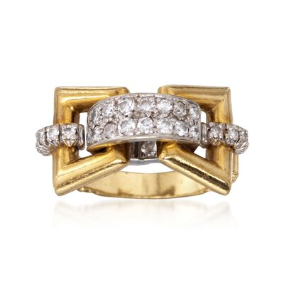 C. 1990 Vintage .75 ct. t.w. Diamond Buckle Ring in 18kt Two-Tone Gold