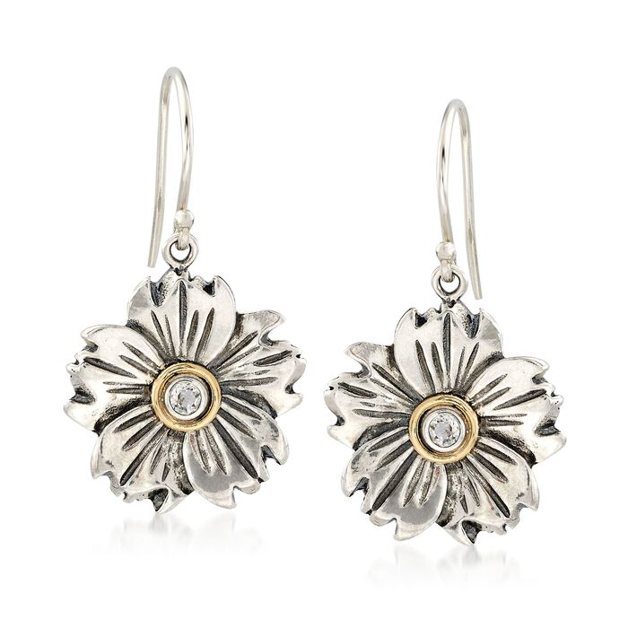 .10 ct. t.w. White Topaz Flower Drop Earrings in Sterling Silver and 14kt Gold , , default
