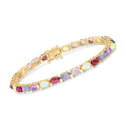 13.95 ct. t.w. Multi-Stone Tennis Bracelet in 18kt Yellow Gold Over Sterling Silver, , default