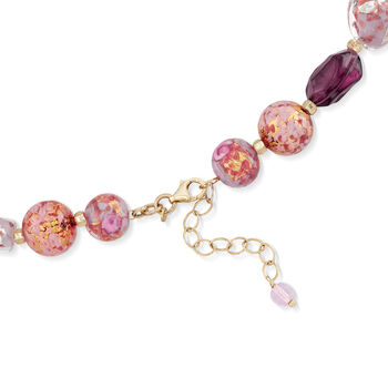 Italian Multicolored Murano Glass Bead Necklace in 18kt Gold Over Sterling, , default