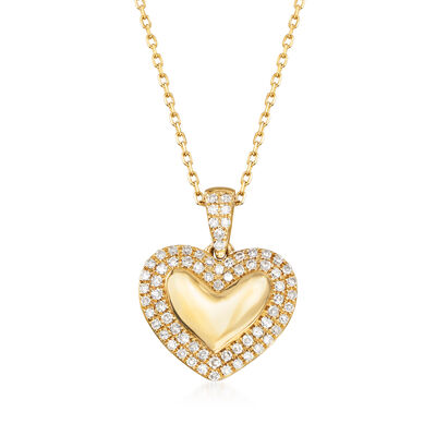 .15 ct. t.w. Diamond Heart Pendant Necklace in 14kt Yellow Gold, , default