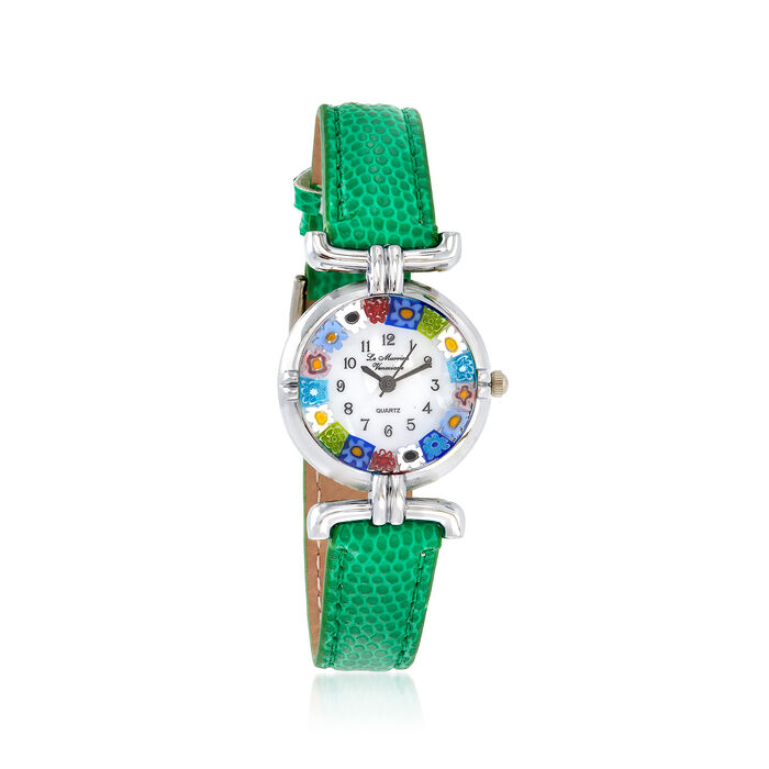 Italian Woman's Floral Multicolored Murano Glass 26mm Watch With Green Leather, , default