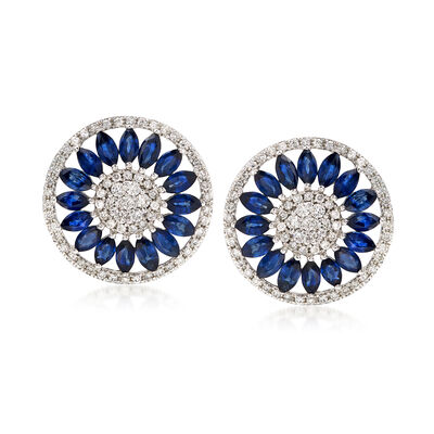 2.80 ct. t.w. Sapphire and .85 ct. t.w. Diamond Circle Drop Earrings, , default