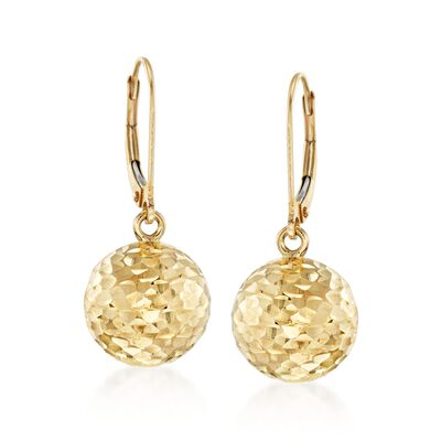 Italian 12mm 18kt Yellow Gold Diamond-Cut Bead Drop Earrings