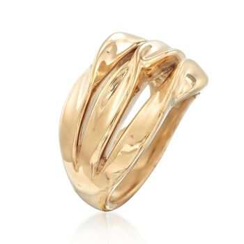 14kt Yellow Gold Three-Row Twist Ring, , default