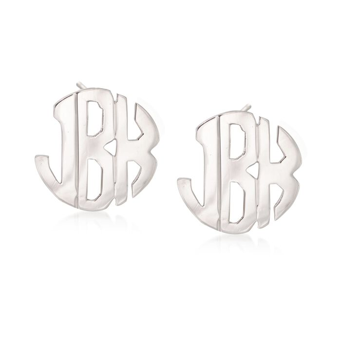 Sterling Silver Hand-Cut Monogram Earrings