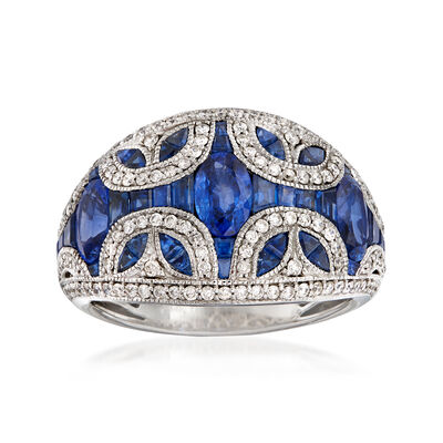 3.60 ct. t.w. Sapphire and .52 ct. t.w. Diamond Dome Ring in 14kt White Gold, , default