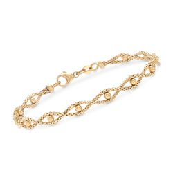 IItalian 14kt Yellow Gold Twisted Chain and Bead Bracelet, , default