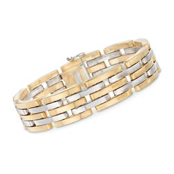 "18kt Two-Tone Gold Staggered Link Bracelet. 7.75"", , default"