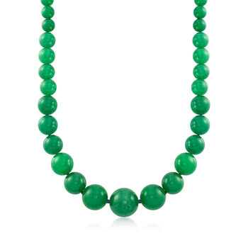 8-20mm Graduated Green Jade Bead Necklace With 14kt Yellow Gold, , default