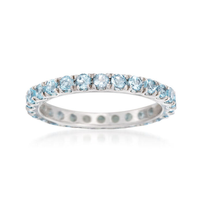 1.00 ct. t.w. Blue Topaz Eternity Band in 14kt White Gold, , default