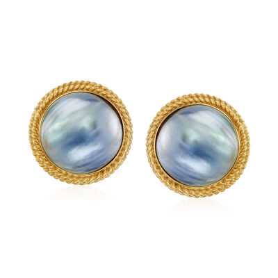 C. 1980 Vintage 14mm Cultured Black Mabe Pearl Earrings in 14kt Yellow Gold, , default