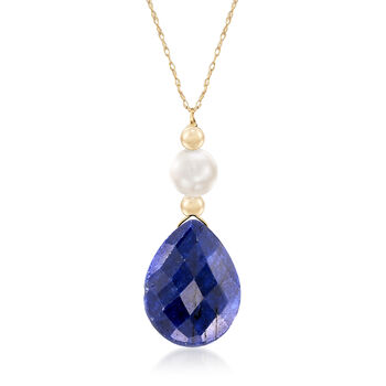 Cultured Pearl and 10.00 Carat Sapphire Necklace in 14kt Yellow Gold