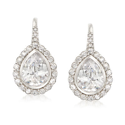 3.58 ct. t.w. CZ Drop Earrings in Sterling Silver , , default