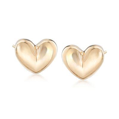 Italian 18kt Yellow Gold Puffed Heart Earrings, , default