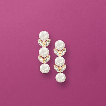 4mm Cultured Pearl Leaf Drop Earrings With Diamond Accents in 14kt Yellow Gold, , default