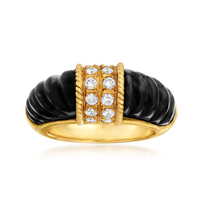 C. 1980 Vintage Black Onyx and .50 ct. t.w. Diamond Ring in 18kt Yellow Gold