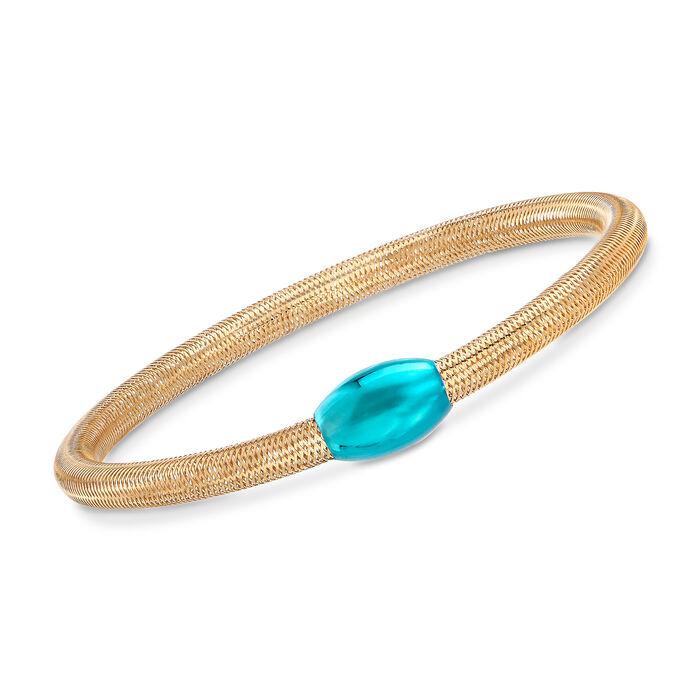 "Italian 14kt Yellow Gold Mesh Tube and Teal Bead Center Bangle Bracelet. 7"""