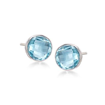 10.00 ct. t.w. Bezel-Set Blue Topaz Stud Earrings in Sterling Silver, , default