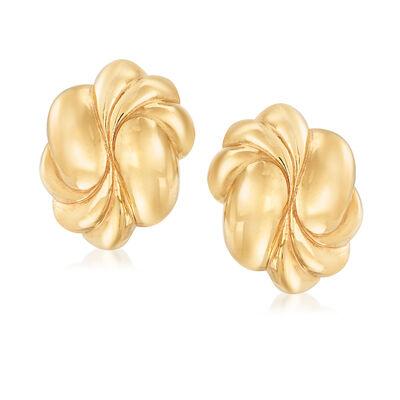 Italian 18kt Yellow Gold Swirl Clip-On Earrings, , default