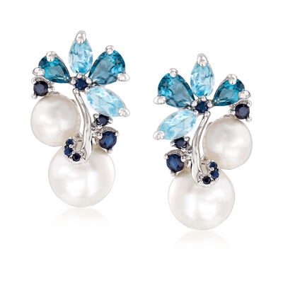 6-8.5mm Cultured Pearl and 2.00 ct. t.w. Blue Topaz with Sapphire Earrings in Sterling Silver
